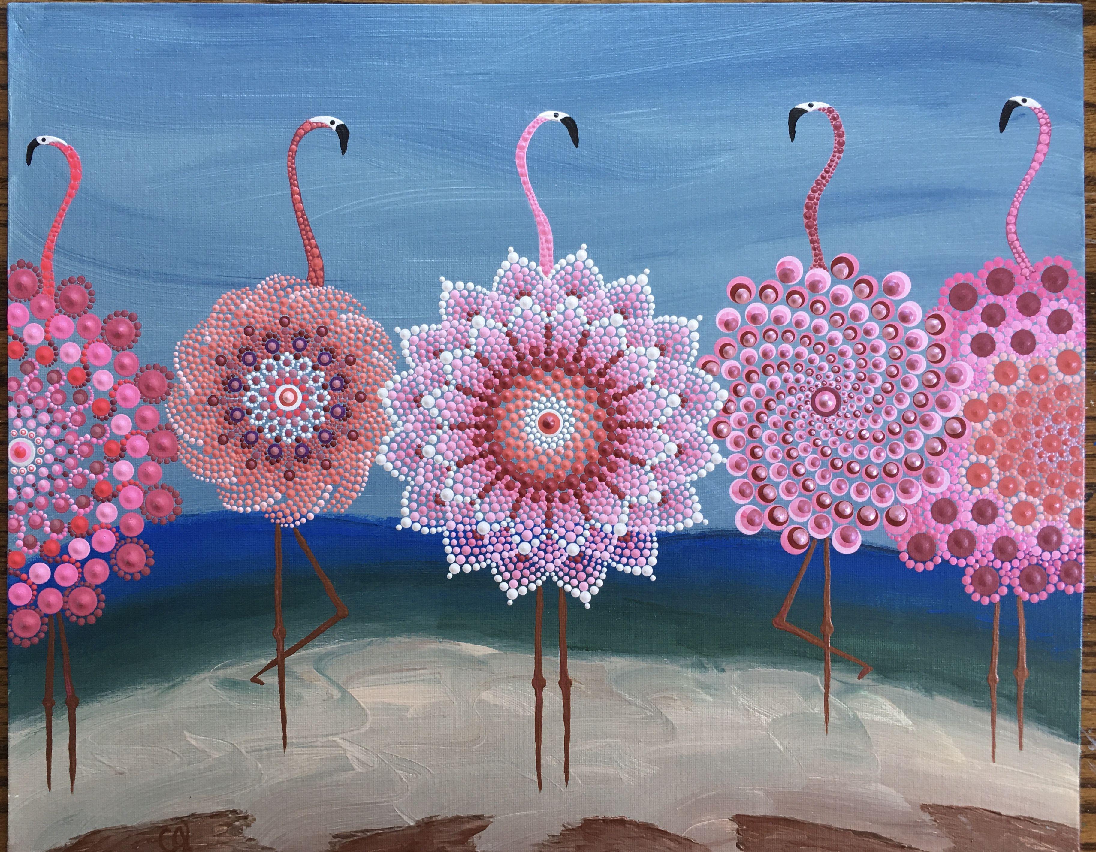 Flamingos De Ja Bu Dot Art Painting Stone Art Painting Dot Painting