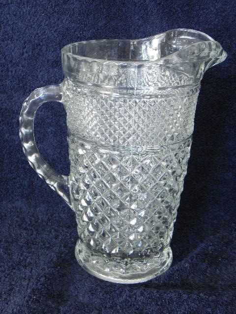 Anchor Hocking Wexford Glass Pitcher Antique Glassware Vintage Pressed Glass Antique Glass