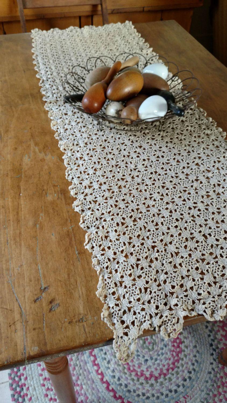 1940s Vintage Hand Crochet Table Runner Dresser Scarf Ecru Etsy Crochet Table Runner Hand Crochet Vintage Linens
