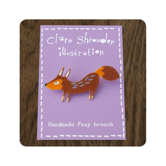 Shrink Plastic Fox Brooch