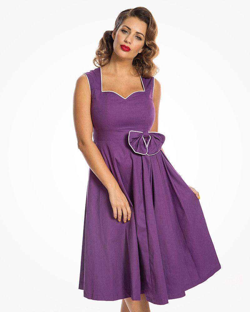 f9024865be7b Grace  Vintage 1950s Inspired Purple Cotton Swing Dress in 2019 ...