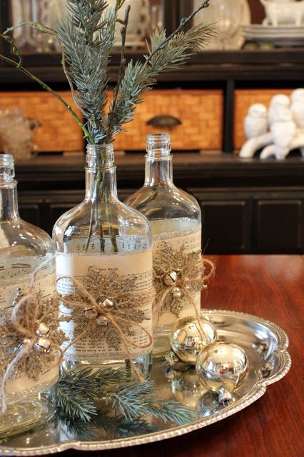 Glass Bottle Decoration For Christmas Pretty Christmas Altered Bottle Howto  Crafts  Pinterest