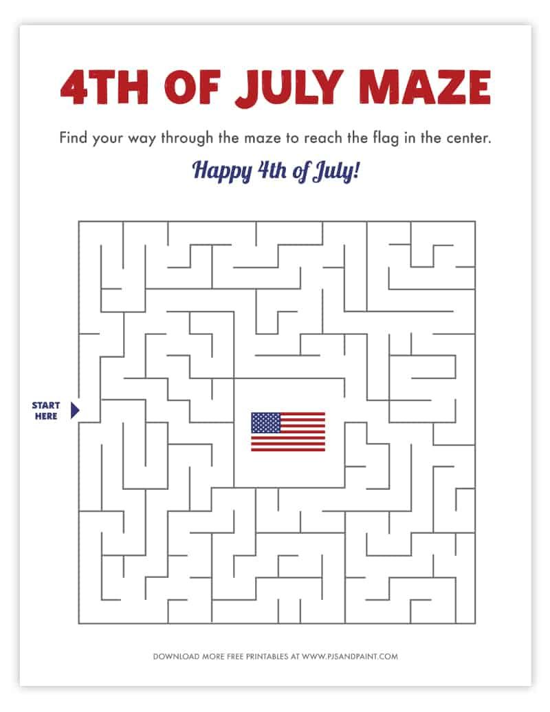 Free Printable 4th Of July Maze 4th Of July Free Printables Holiday Printables [ 1035 x 800 Pixel ]