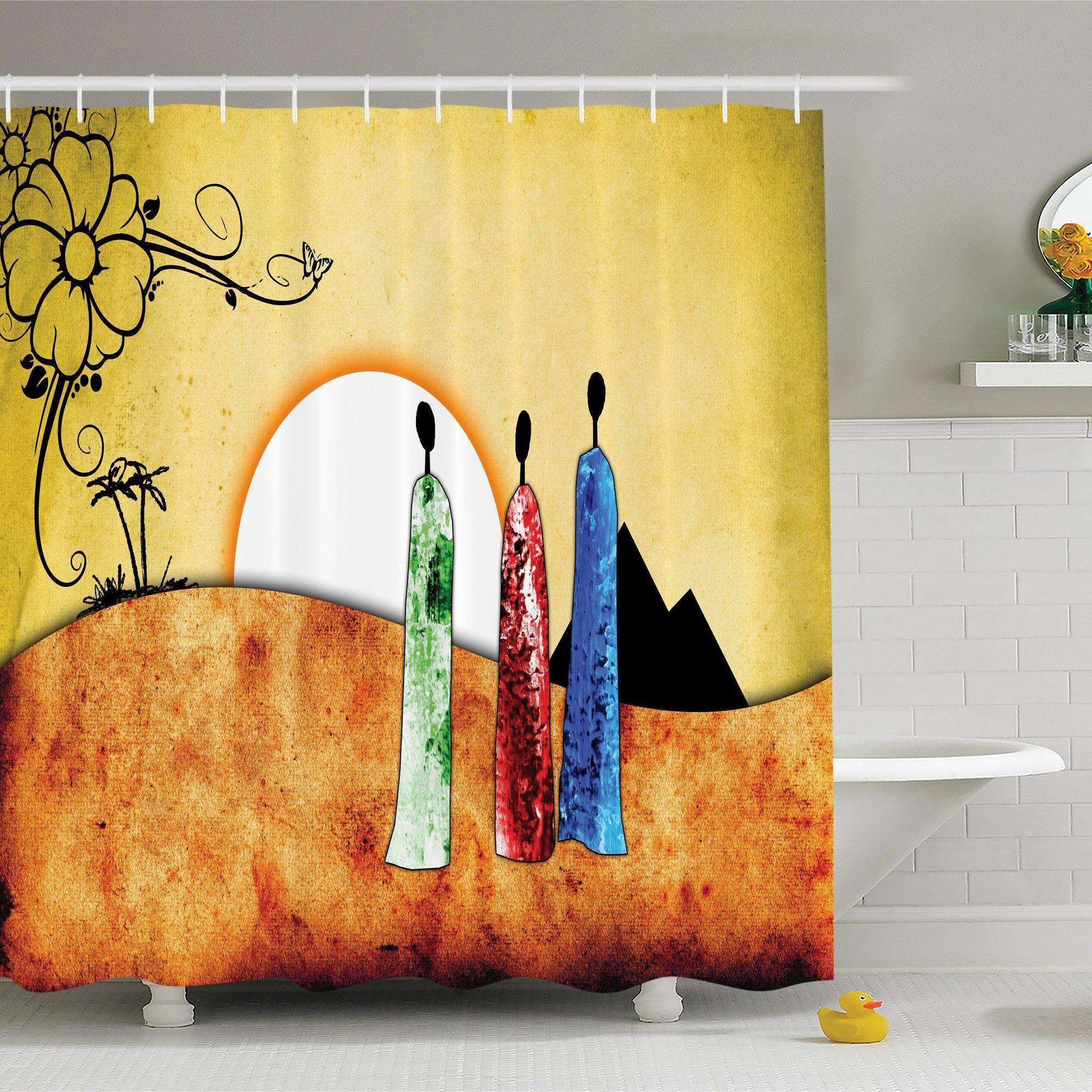 African Tribe Facing Sunrise Shower Curtain   African tribes and ...