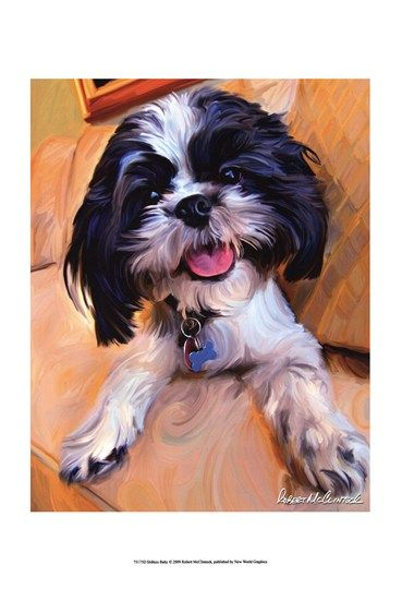 SHIH TZU NEEDLEPOINT dog art  artist prints animals impressionism 8x10