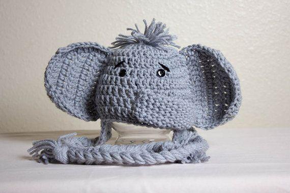 Crochet Animal Hats Elephant Hat Newborn Photo Props Crochet Elephant Hat Baby Shower Gifts Birthday Gifts Animal Beanie Handmade…