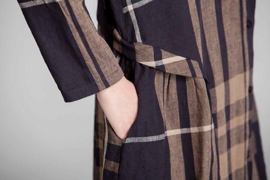 Spring Casual Linen Lattice Women Coffee Dress