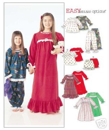 845334022bec GIRLS NIGHTGOWN Sewing Pattern - Easy Pajamas Nightgowns Bloomers Sleepwear  REDUCED  patterns4you