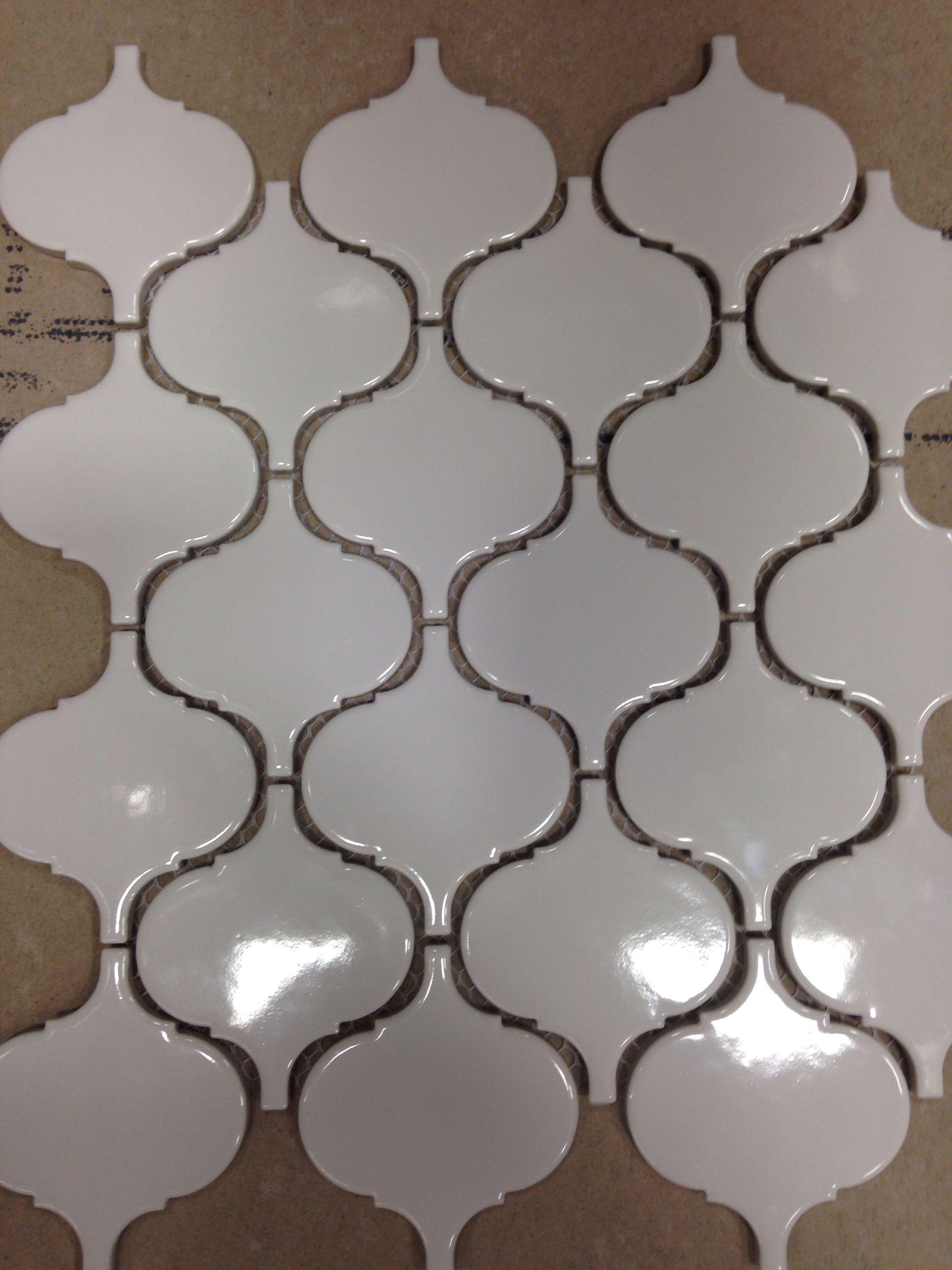 White Porcelain Moroccan Print Mesh Tiles Vaughn White