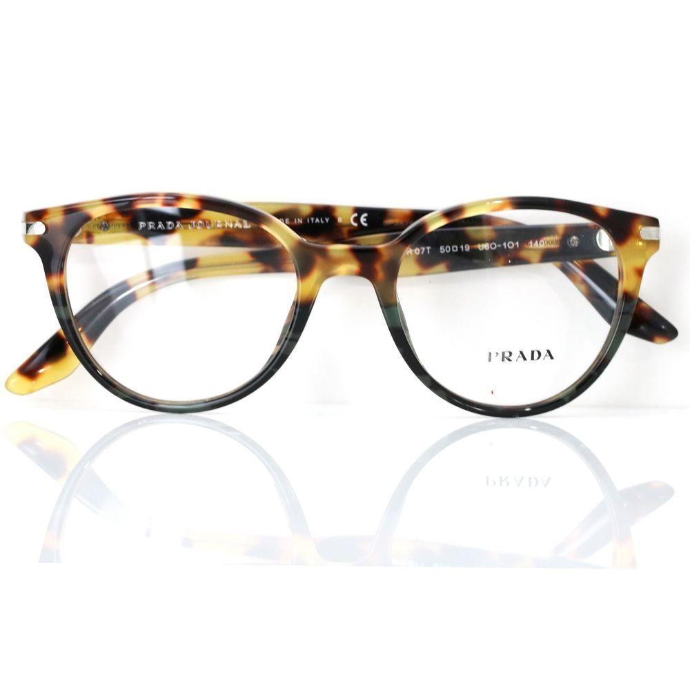 01775391e042 Prada 07T Optical Eyeglasses Havana Frame with Clear Lenses U6O-1O1  PRADA   Round