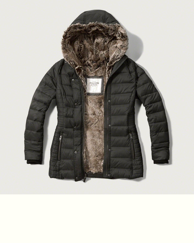 Womens Faux-Fur Lined Puffer Jacket | Womens Outerwear ...