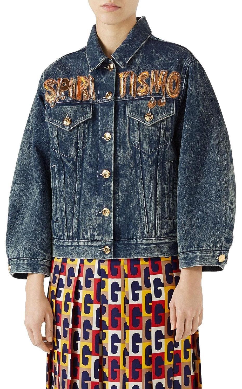 7909425ef19c Gucci Spiritismo Gg Monogram Logo Sold Out Denim Jacket Sz M ...