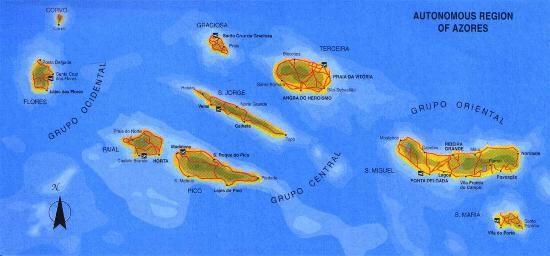 mapa das 9 ilhas dos açores Mapa do Arquipélago dos Açores, Portugal. | ** Açores   9 ilhas  mapa das 9 ilhas dos açores
