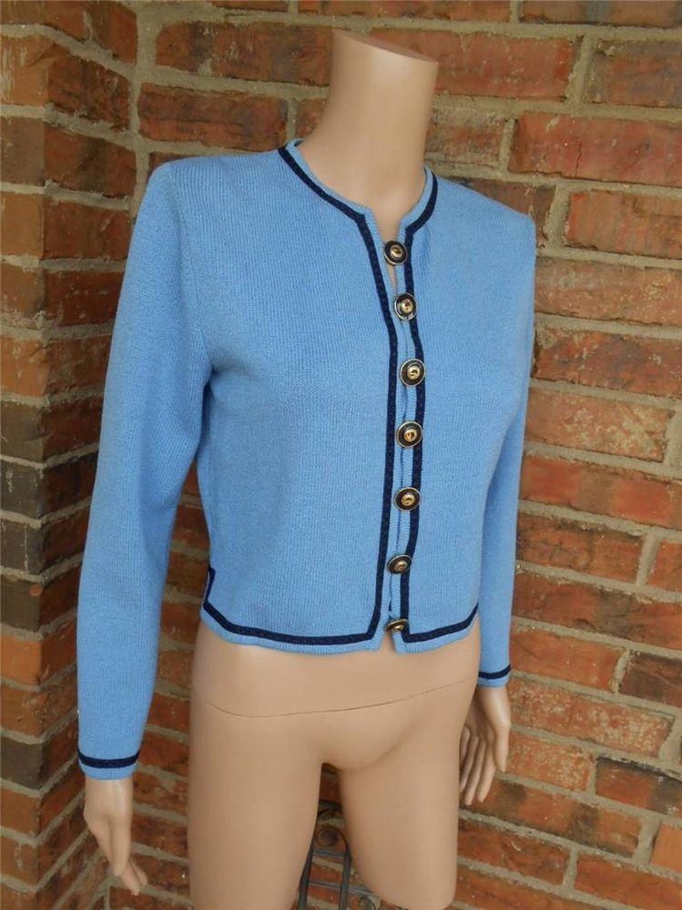 7cca84a04b9e7 ST JOHN Collection Cardigan Size 2 XS Santana Knit Sweater Top Marie Gray  Blue  StJohn  Cardigan