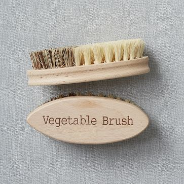 I need this for my hubby for the few times he scrubs a potato. He doesn't know the difference if the brush is to scrub veggies or a pot. Kitchen Cleaning Vegetable Brush #WestElm