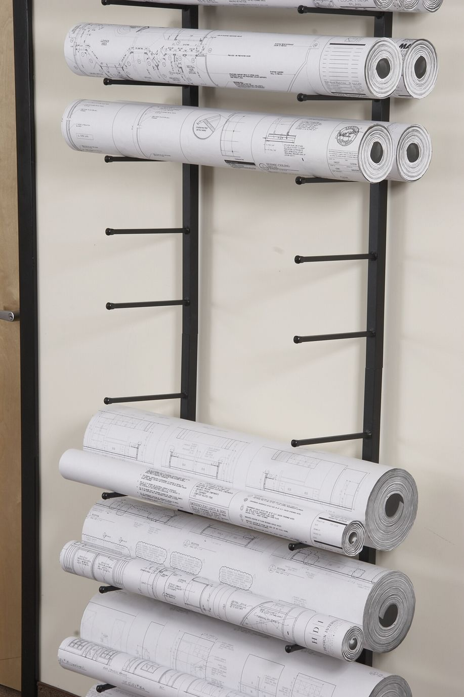 Vis i rack for large rolled documents such as blueprints for Architectural plan storage