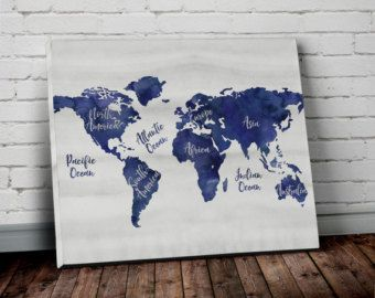 Navy world map wall art canvas world map print in navy blue and navy world map wall art canvas world map print in by allymacdesign gumiabroncs Image collections