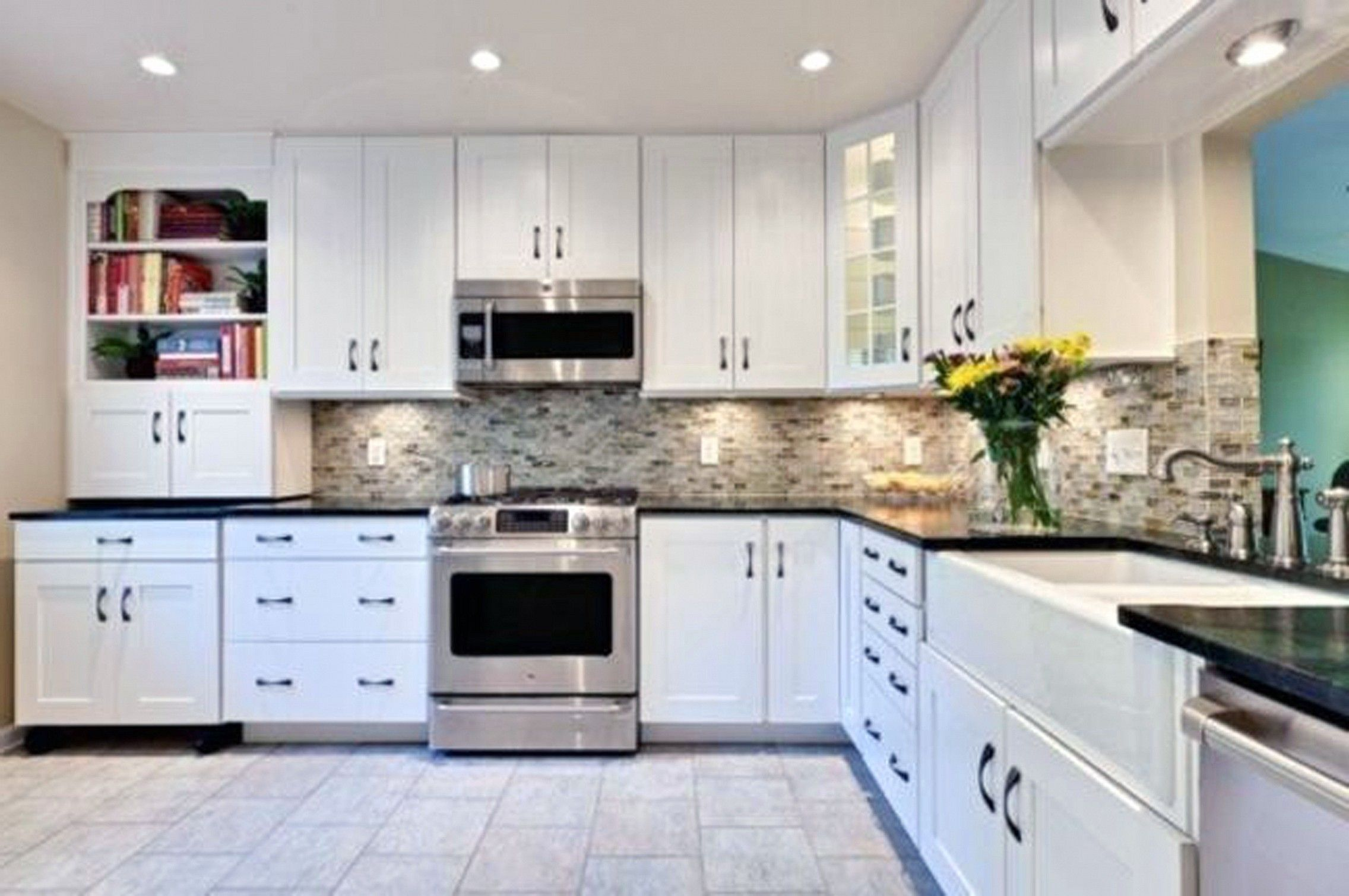 New White Cabinets with Black Granite