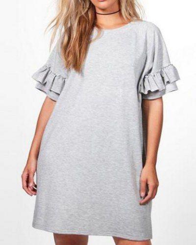 Plus size ruffle t shirt dress short sleeve style for fat women