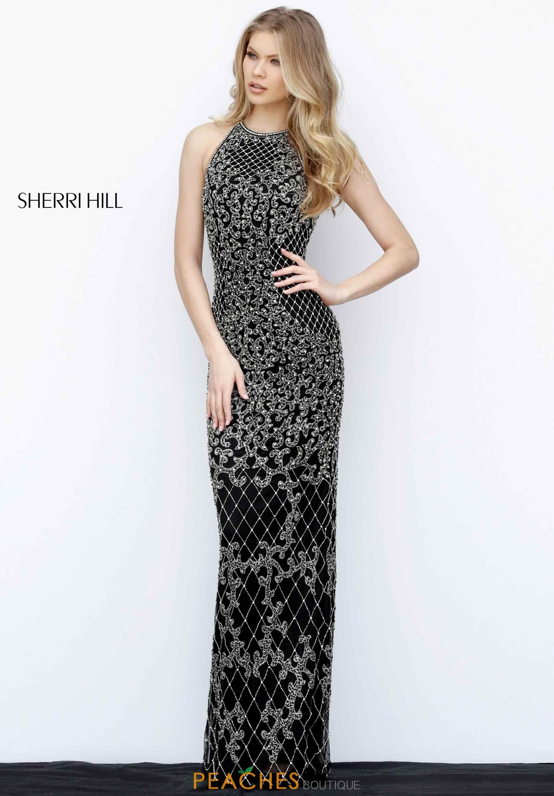 6f273507baa Sherri Hill Beaded Long Dress in Black