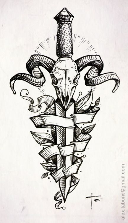 poignard / crâne / ruban. | beautiful illustrations | pinterest