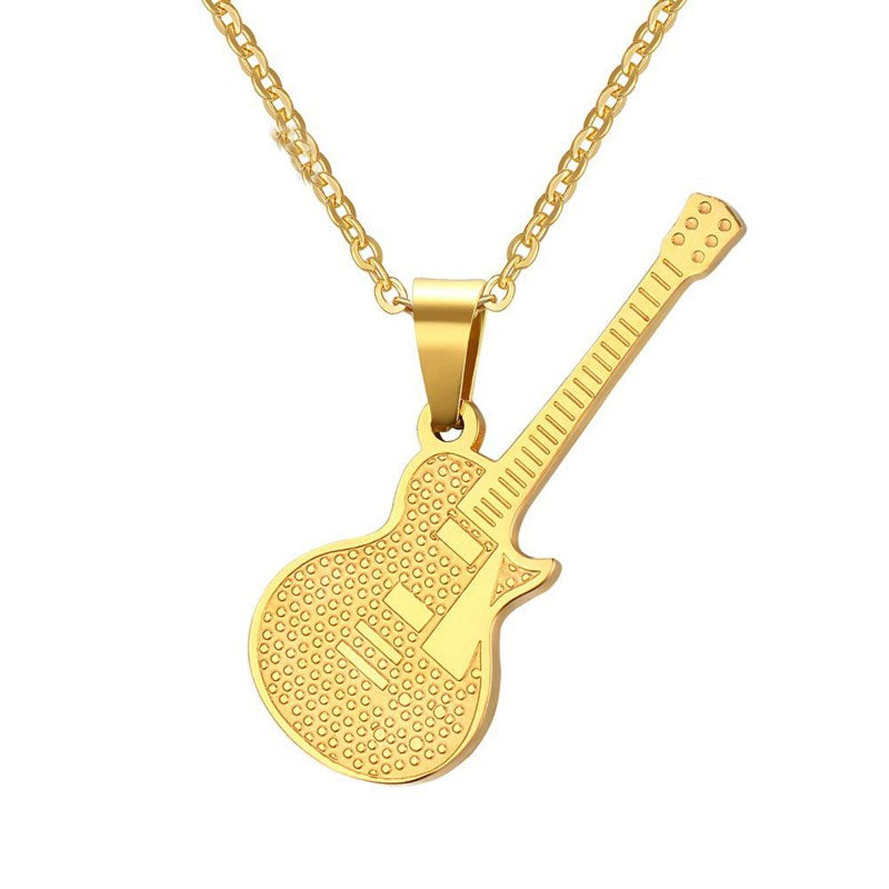 Stainless steel gold plate guitar pendant personality rock punk