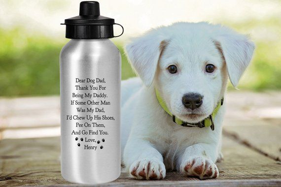 1158b89e5bb DEAR DOG DAD Personalized Water Bottle Gift for Dog Dad Funny Fathers Day  20 oz. Dog Dad Gift From the Dog Custom Dog Dad