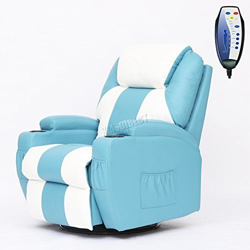 FoxHunter Bonded Leather Massage Cinema Recliner Sofa Chair Armchair Swivel  Rocking With Heating Function Cup Holder