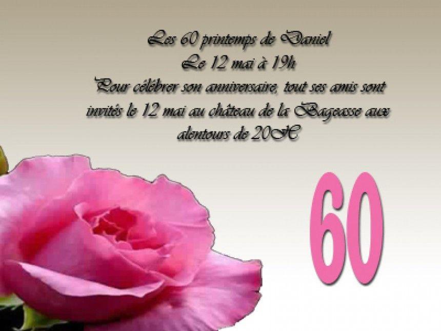 texte d invitation anniversaire 60 ans
