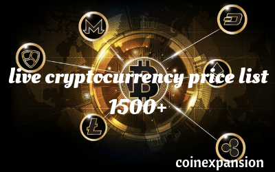 Cryptocurrency list and values