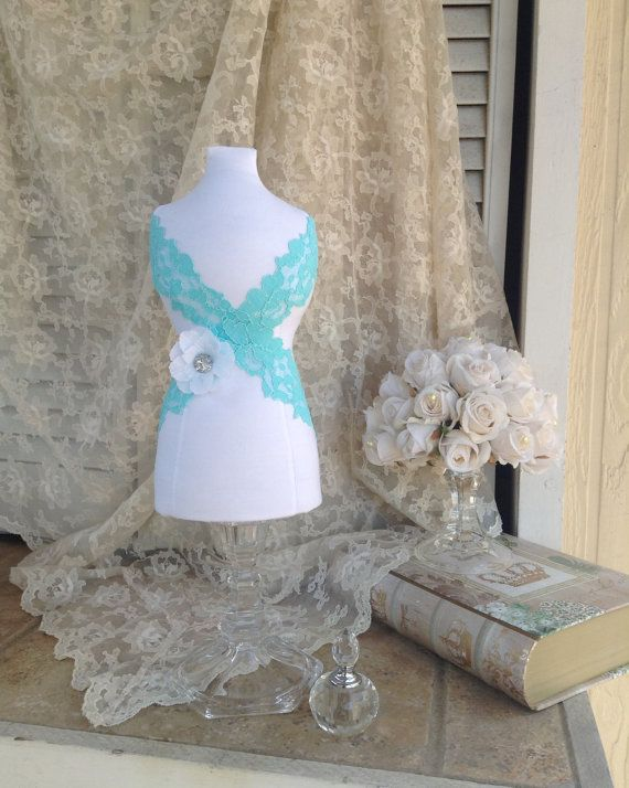 XL White Dress Form Display Jewelry Stand Fabric Bust Necklace