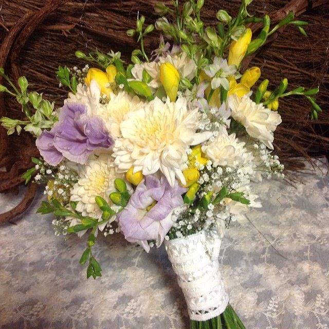 Vintage Wedding Bouquet Of Cream Lilac And Yellow Flowers Includes Freesias Roses