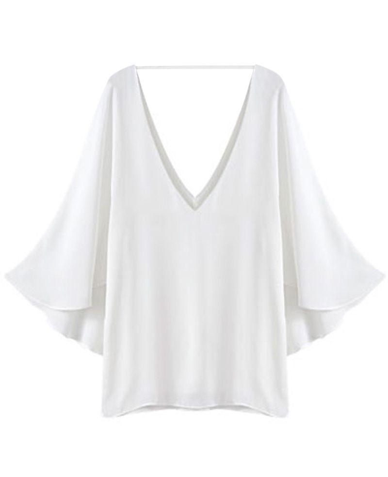 Flounce-sleeved Deep V-neck Loose Chiffon Shirt