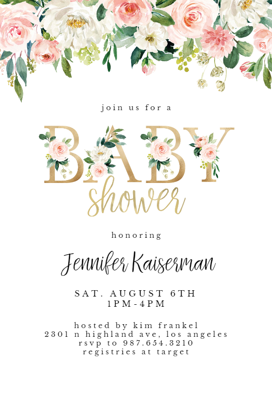 Baby Shower Floral Letters Baby Shower Invitation Template Greetings Island Free Baby Shower Invitations Free Printable Baby Shower Invitations Printable Baby Shower Invitations