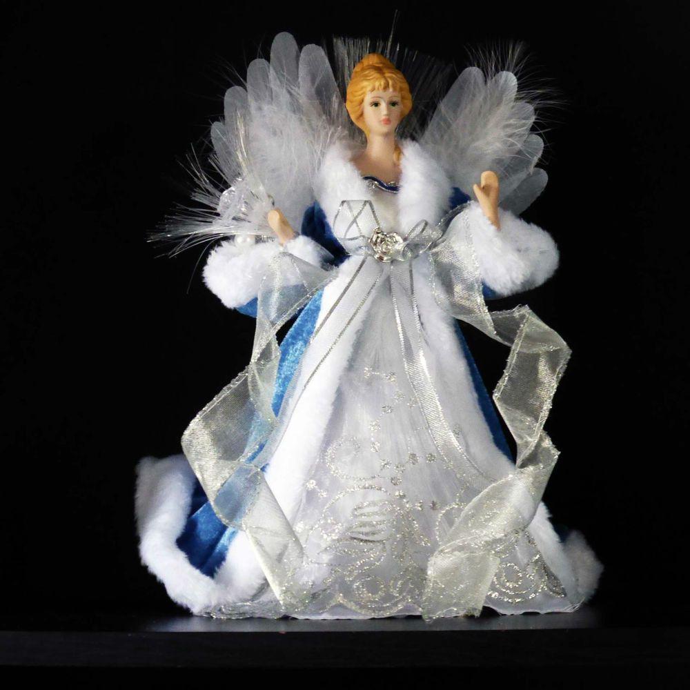 Cat Angel Christmas Tree Topper: LED FIBER OPTIC ANGEL TREE TOPPER~Porcelain Head~Wings