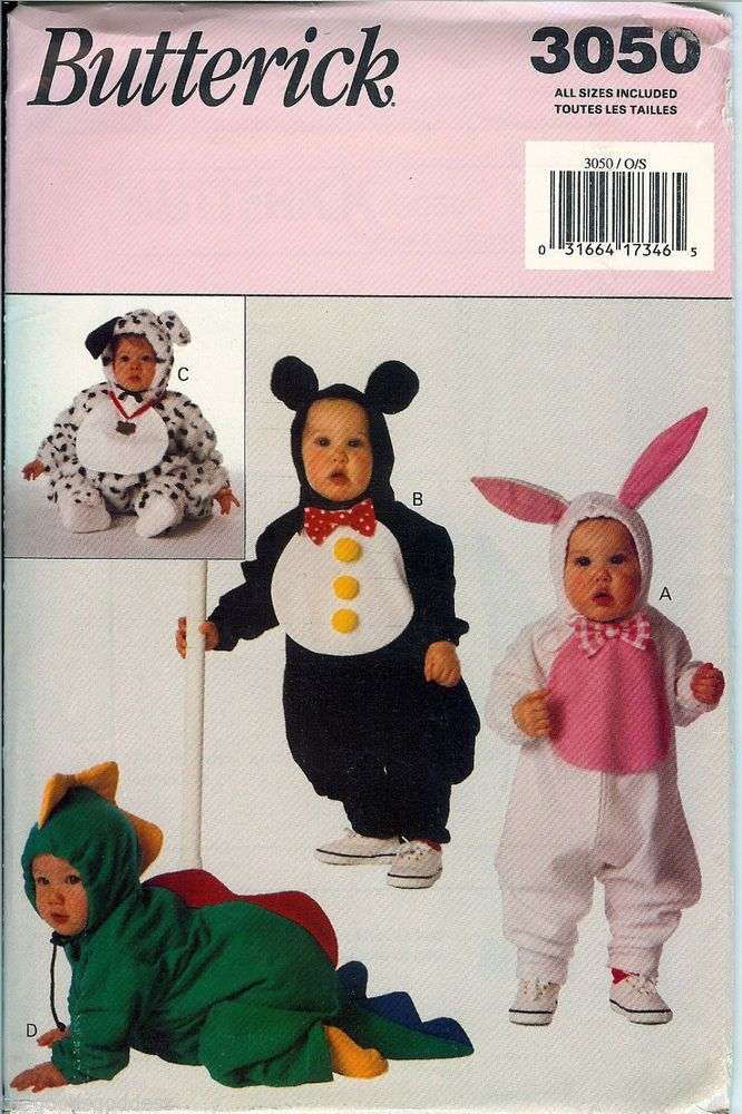 who can resist a baby animal butterick baby toddler animal costume pattern 3050 uncut ff - Baby Halloween Costume Patterns