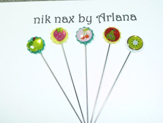 Cute Mini Fruit Stick Pins  set of 5 by niknaxbyArlana on Etsy, $3.00