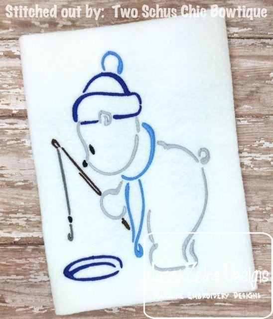 Polar Bear Fishing Outline Satin Stitch Design: Jazzy Zebra Designs