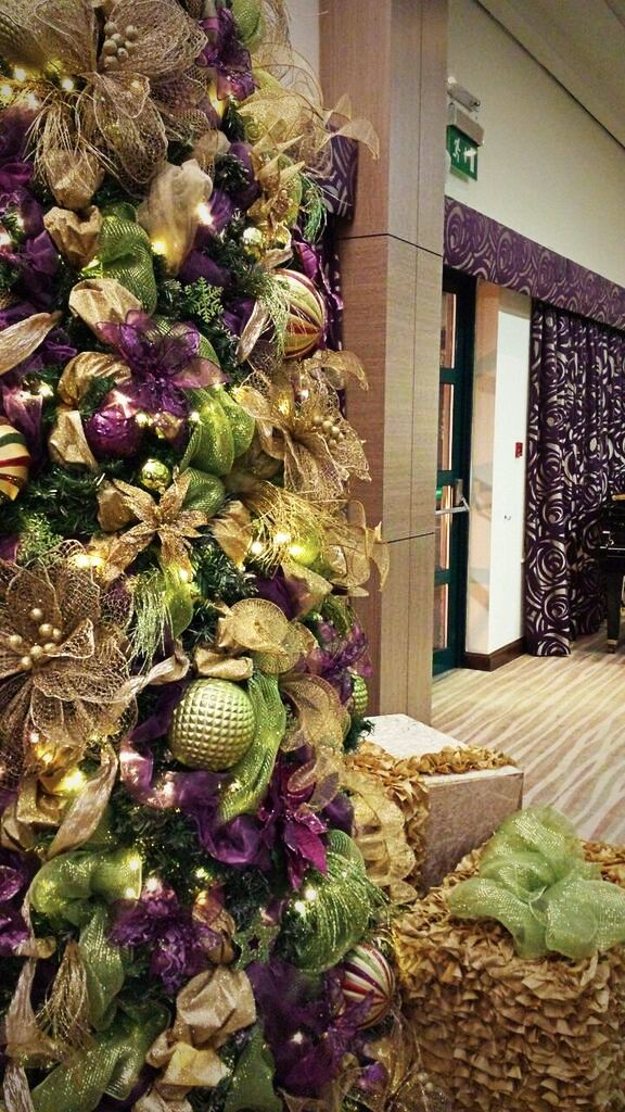 Lime green and purple Christmas trees for hire. Our lime