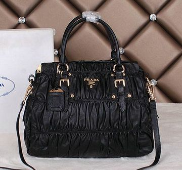 c76aa056c9da ... official store prada gaufre lambskin leather tote bags bn1336 black  65cf9 45449