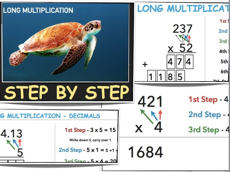 5th Grade Math Long Multiplication - Step - by - Step - long multiplication worksheets