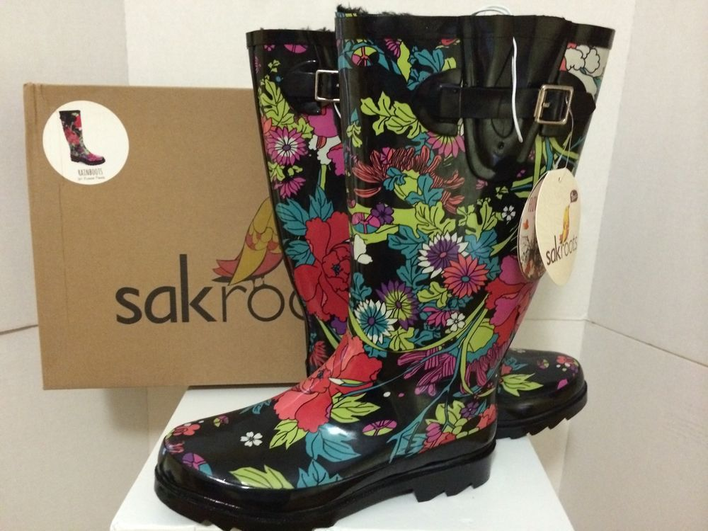 NIB SAKROOTS rain boots Black flower power fur lined artistically printed  SZ 8