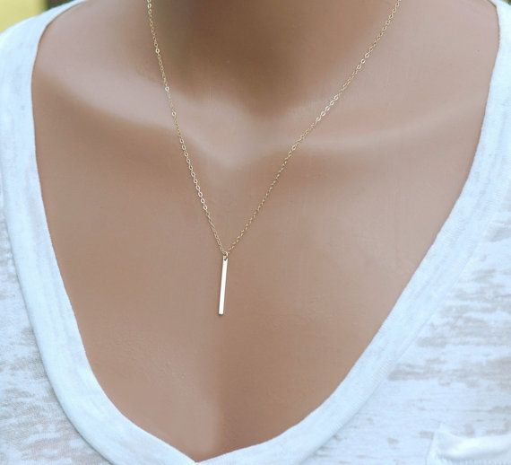 Gold bar necklace dainty vertical bar necklace everyday layering gold bar necklace dainty vertical bar necklace everyday layering necklace pendant necklace friend gift rose gold ss 14k gold fill aloadofball Image collections