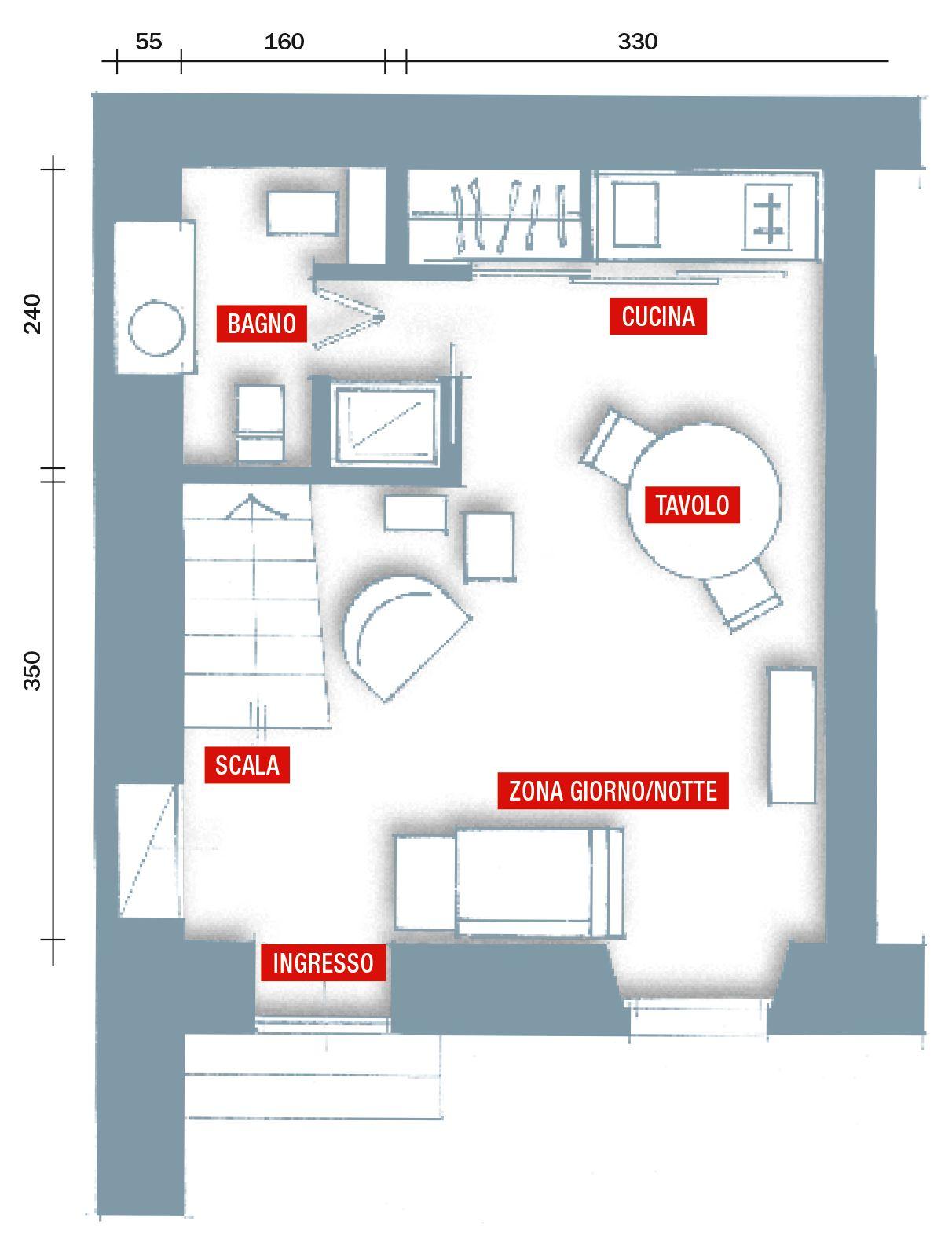 Nel miniappartamento di 30 mq è stata costruita una