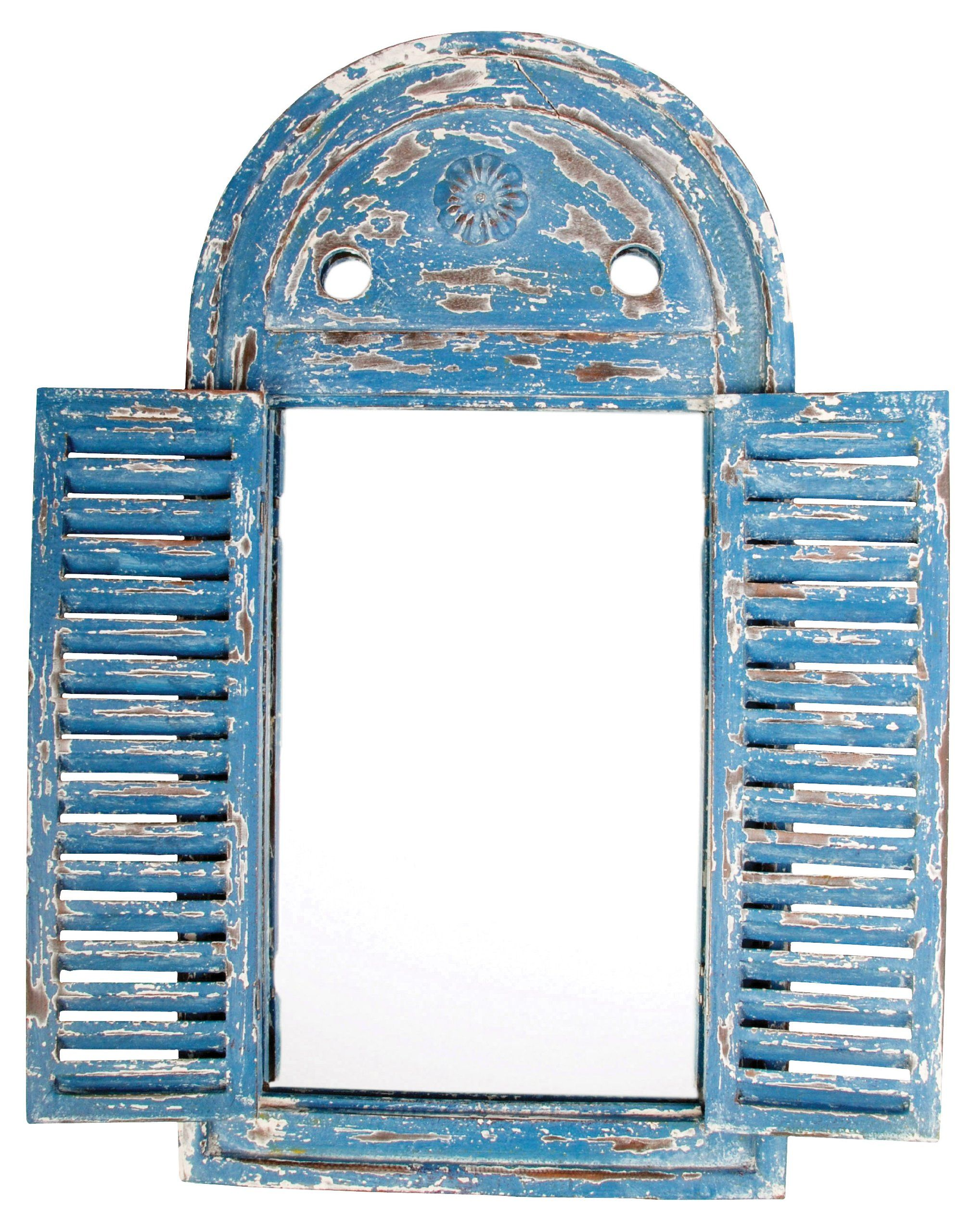 Amazon.com : Esschert Design WD13 Mirror Louvre Distressed, Blue ...