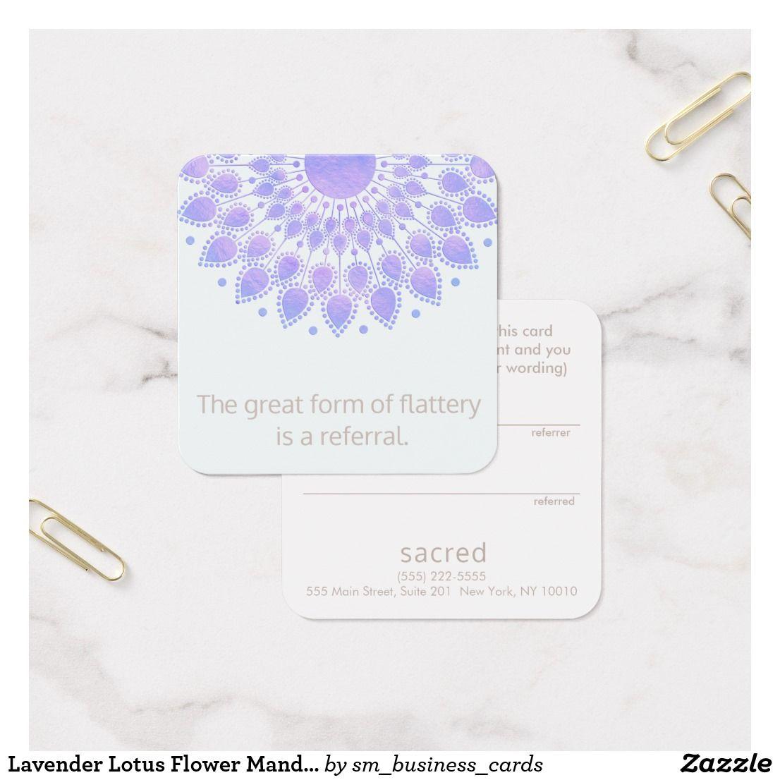 Lavender Lotus Flower Mandala Customer Referral Square Business Card ...