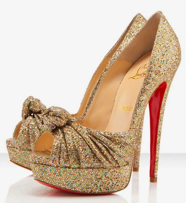 Gold Red Bottom Shoes for women