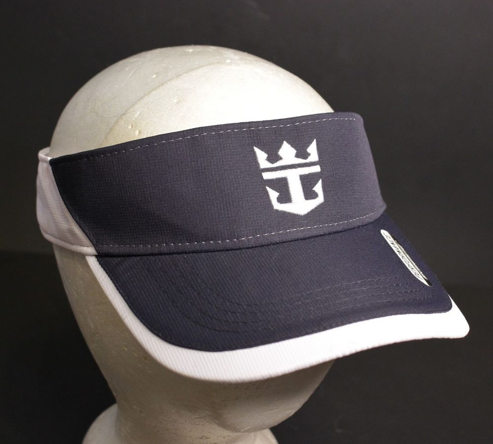 reputable site a8909 2a775 Royal Caribbean Visor Hat Cap Performance Ahead Adjustable Strapback Navy  White  Ahead  Visor