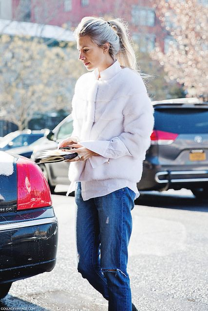 New_York_Fashion_Week-Street_Style-Fall_Winter-2015-Sarah_Harris-White_Fur-Ripped_Jeans- by collagevintageblog, via Flickr