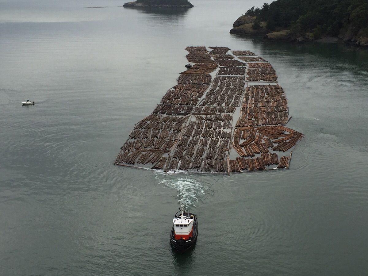 Hauling lumber off the coast of Washington.
